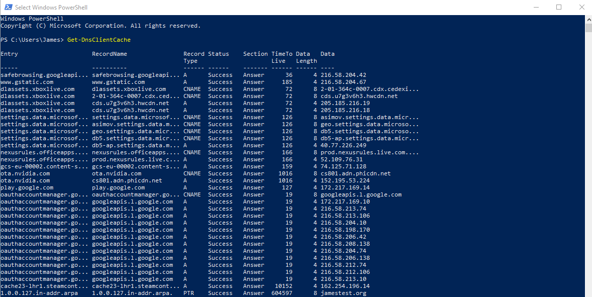 Sample of cmdlet output