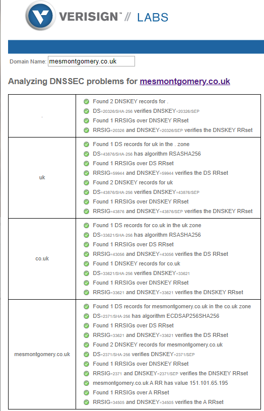 Example output of the Verisign DNSSEC tool.