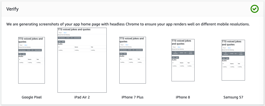 Amplify verification screenshot showing the differences across devices