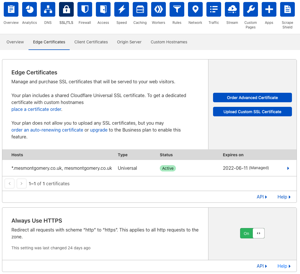Configuring to use HTTPS always in Cloudflare